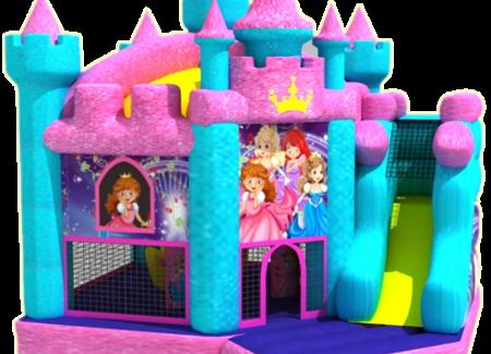 Glitter prinseskasteel met glijbaan
